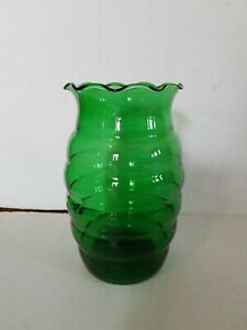 Anchor-Hocking-Beehive-RIBBED-Vase-Vintage-Forest-Emerald-Green