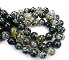 genuine Black White Dragonvein Agate round 12mm gemstone beads