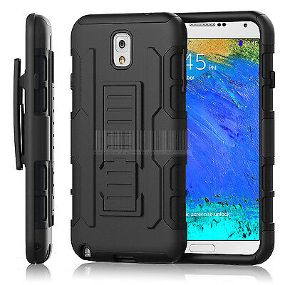Black Rugged Hybrid Armor Impact Hard Case Belt Clip Holster Kickstand Cover