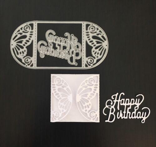 Artesanías Metal Feliz Cumpleaños Mariposa Mini tarjeta DIE Cutter