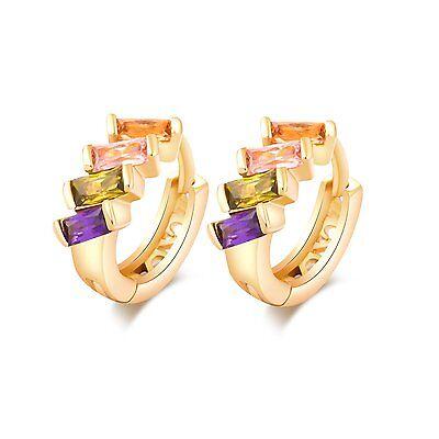 Fashion Womens 18K Gold Filled Pink Green purple Crystal small Hoop Earrings Lot