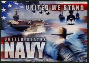 """US Navy United We Stand postcard submarine carrier battle group 4 x 6"""" mint cond"""