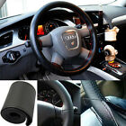 New Universal Leather DIY Car Steering Wheel Cover Case With Needles and Thread