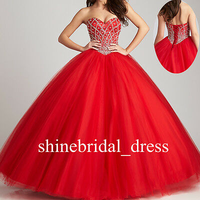 Sweet 15 16 Beaded Puffy Quinceanera Dresses Teens Prom Formal Wedding Ball Gown