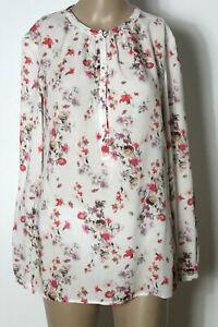 ESPRIT-Bluse-Gr-36-weiss-bunt-Blumen-Langarm-Bluse-Tunika