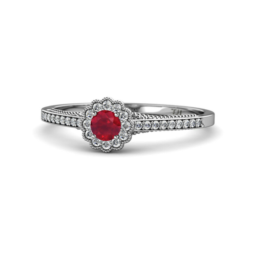 Round Ruby & Diamond Womens Halo Promise Ring 0.51 ctw 14K White gold JP 166809