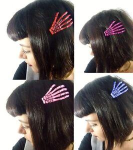 trouver le travail éclatant plus grand choix de Détails sur Pince clip cheveux main os squelette rose rouge violet couleur  pinup psychobilly