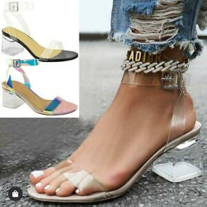 Womens Low Block Heel Glass Perspex