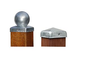 Pfostenkappe-Zaunkappe-Pfahlkappe-Zierkappe-feuerverzinkt-Pyramide-oder-Kugel