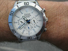 PULSAR BY SEIKO DIVERS CHRONOGRAPH METALLIC WHITE  TEXTURED DIAL 2013 48MM VGC