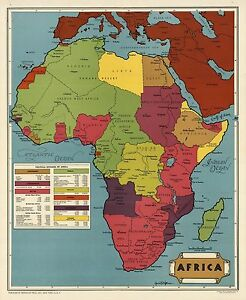 1945 pictorial map European controlled Africa Shows colonies