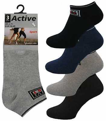 3 Mens Active Sport Logo Cotton Rich Trainer Liner Socks / Assorted / Uk 6-11 Mit Dem Besten Service
