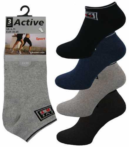 3 Mens Active Logo Cotton Rich BIG FOOT Trainer Liner Socks UK 11-14 Mixed