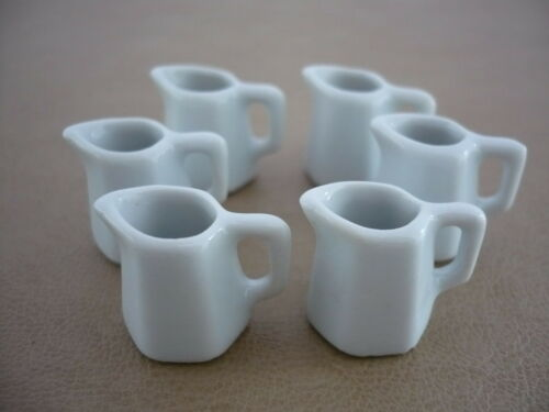 6 White 6 Sided Ceramic Water Jug Dollhouse Miniatures