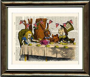 Antique-Book-page-Art-Print-Alice-in-Wonderland-Mad-Hatters-Tea-Party