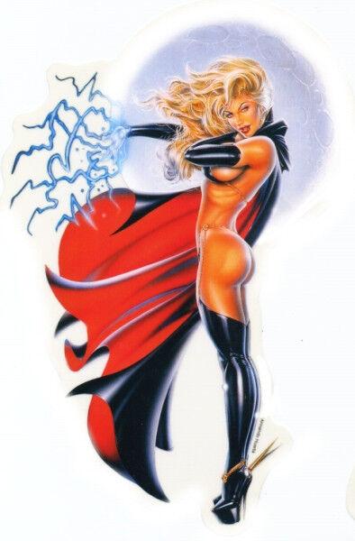 SEXY NUDE LADY DEATH FULL MOON Pinup Girl STICKER/VINYL DECAL BDSM Huerta