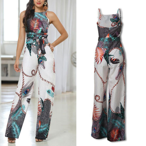 Women Ladies Loose Peacock Feather Print Straps Commute Jumpsuit Overall Romper