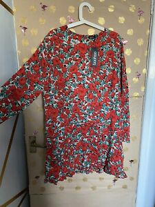 Red Floral Tiered Dress - Boohoo - New With Tags - Size 20