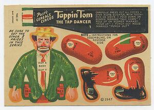 Post cereal premium circus paper doll - Tappin Tom tap dancer 1947 clown