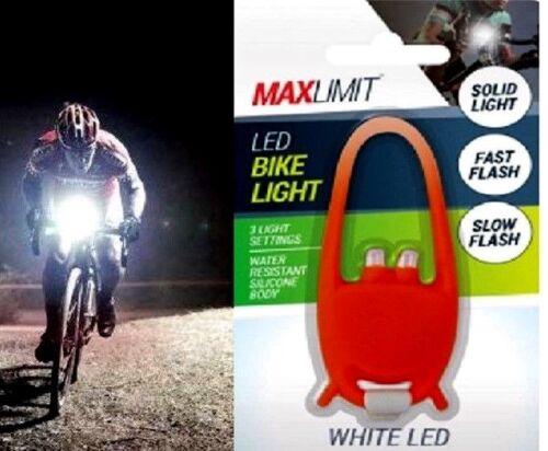 MaxLimit Water Resistant Silicone Boday LED Bike Light 3 Light Settings Flexible