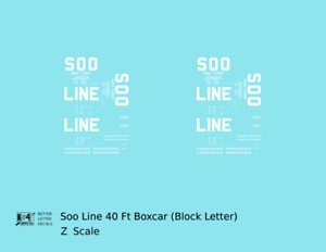 K4 Z Decals Soo Line 40 Ft Boxcar White Block Letter