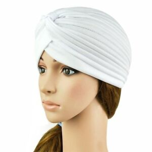 Image is loading WHITE-Turban-Head-Wrap-Fashion-hat-Band-Hat- 89d510b2351