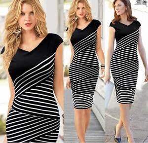 Women-Fashion-Business-Pencil-Dress-Stripe-Knee-Length-Black-White-V-Neck-8-18