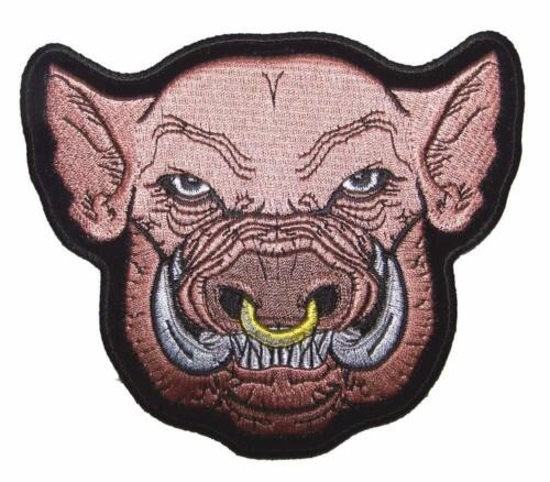 PIG HOG HEAD W NOSE RING PATCH P4080 NEW jacket BIKER EMBROIDERIED BIKEnew