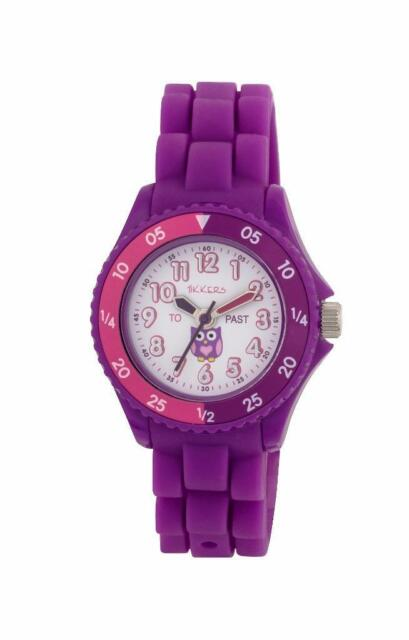 TIKKERS CHILDREN'S TIME TEACHERS OWL THEME PURPLE SILICONE STRAP WATCH - NTK0003