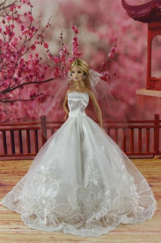 Fashion Princess Dress Wedding Clothes/gown Veil for Barbie Doll ...