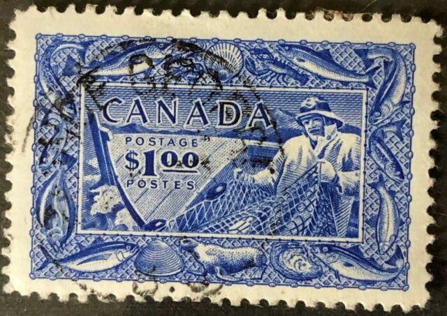 CANADA 1951 # 302 $1 FISHING RESOURCES - PRINCE GEORGE B.C. CANCEL VF