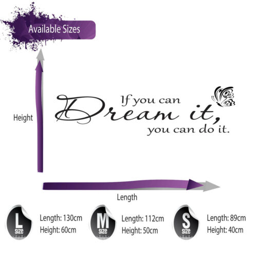 BEDROOM LOUNGE WALL ART DECAL X355 IF YOU CAN DREAM IT WALL STICKER QUOTE