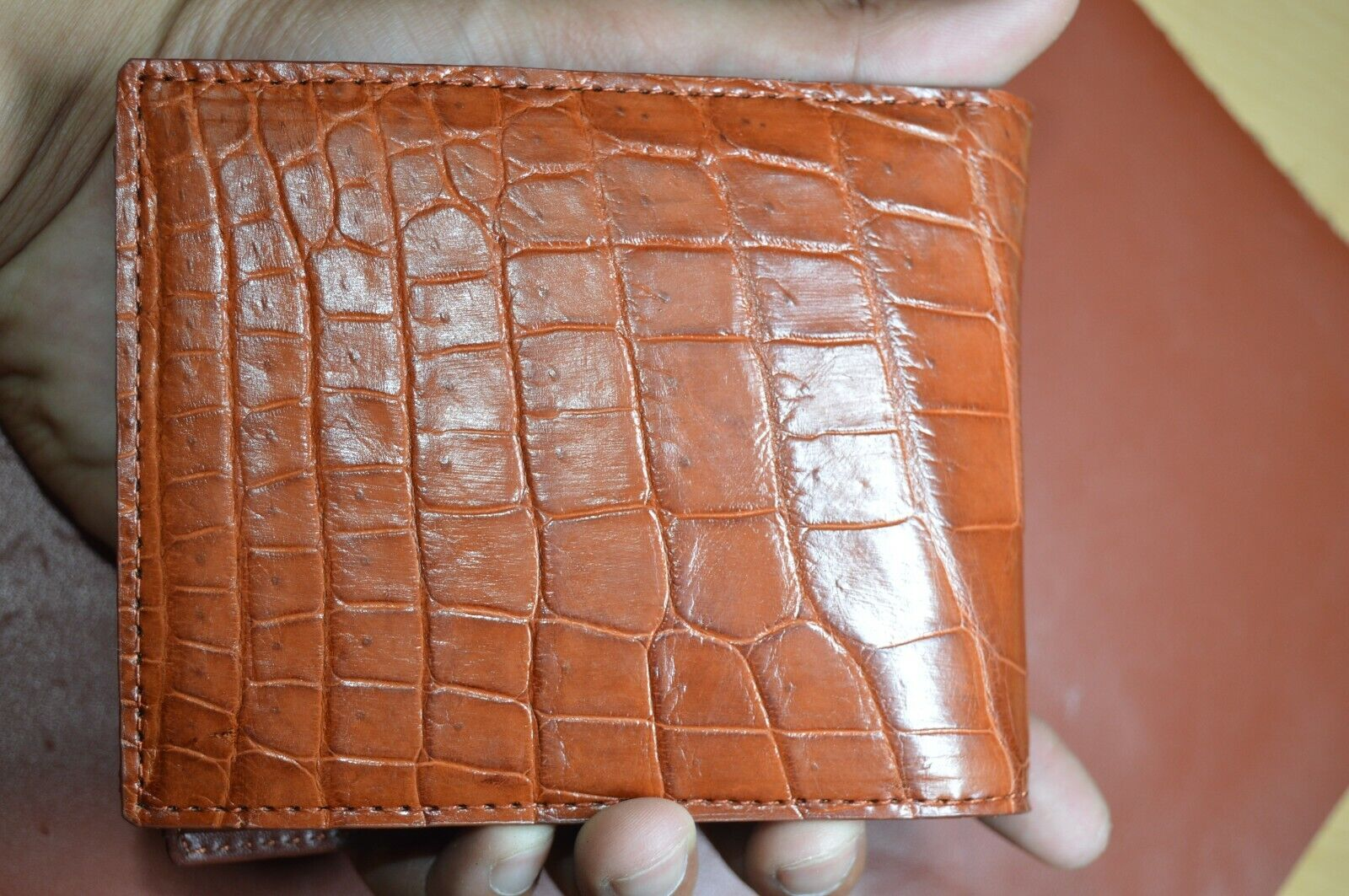 red brown / GENUINE Alligator,CROCODILE s bally Leather Skin MEN'S BIFOLD WALLET