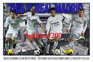 REAL MADRID FOOTBALL CLUB PHOTO COLLAGE - RONALDO - BALE - LOOKS AWESOME FRAMED
