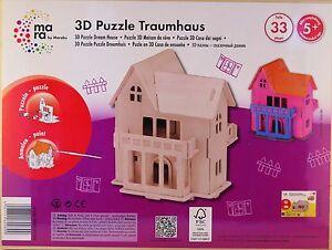 mara by Marabu 3D Puzzle Traumhaus - Holzbausatz aus 33 Teilen - zum Anmalen
