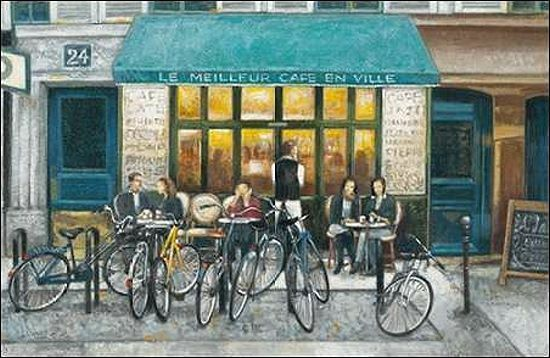Norman Wyatt Jr.  Cafe Impressions III Keilrahmen-Bild Leinwand Strassencafe