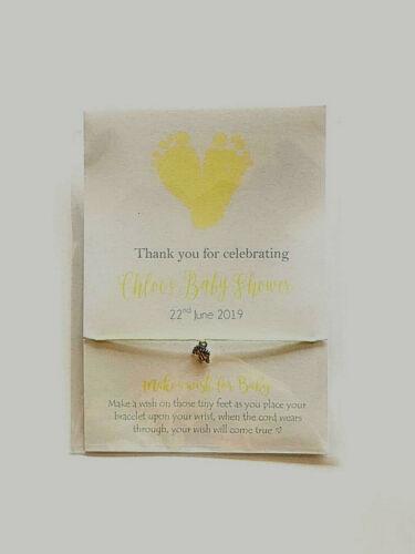 Friendship //wish bracelet Footprints baby gift Baby Shower Favour boy girl