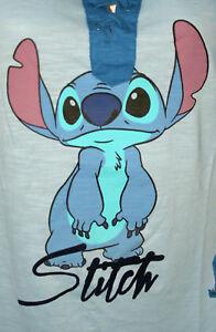 Disney-Lilo-amp-Stitch-Blue-Baseball-T-Shirt-New-Womans-V-Lace-Large-Long-Sleeve