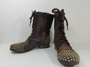 73b1aeb5907 Steve Madden Tarnney Brown Leather Silver Spike Studded Combat Boots ...