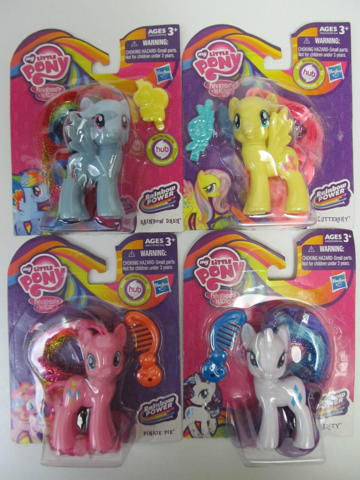 FOUR My Little Pony Figures - RAINBOW POWER Rarity, Rarity, Rarity, Pinkie, Fluttershy & Rainbow 7d11fe