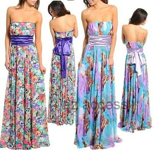 Womens Dress Floral Print Floor Length Long Maxi Prom Summer Sun ...