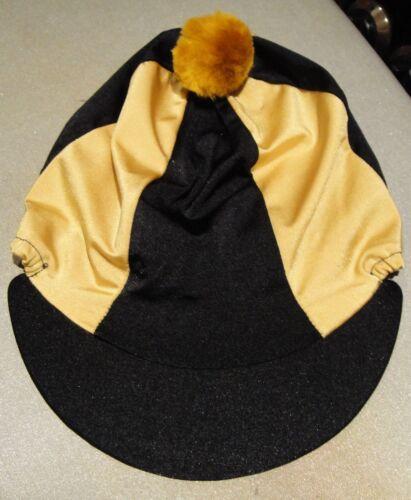 Lycra Équitation Chapeau soie tête Cap couverture noir /& or avec ou sans pompon