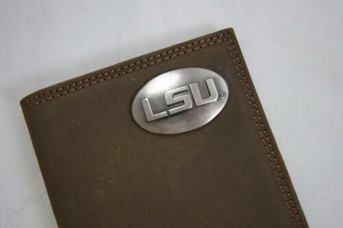 ZEP-PRO NCAA LSU Tigers Crazy Horse Leather LONG Roper WALLET Tin Gift Box