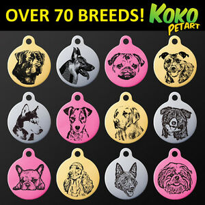 Popular-Dog-Breeds-Pet-ID-Puppy-Name-Tag-Personalised-Engraved-Round-Aluminium