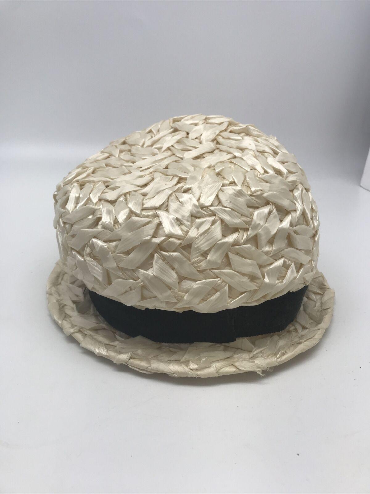 Vintage 30's 40's United Hatters Straw Hat Ladies… - image 3