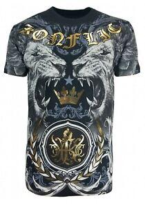 Konflic-Mens-Lion-Warrior-Tattoo-Biker-MMA-T-Shirt