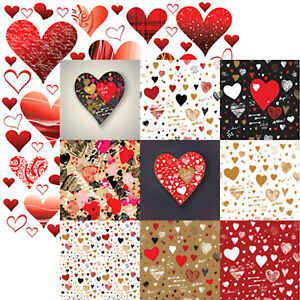 5 Sheets Valentines Graffiti Hearts 12x12 Scrapbook Paper by Reminisce