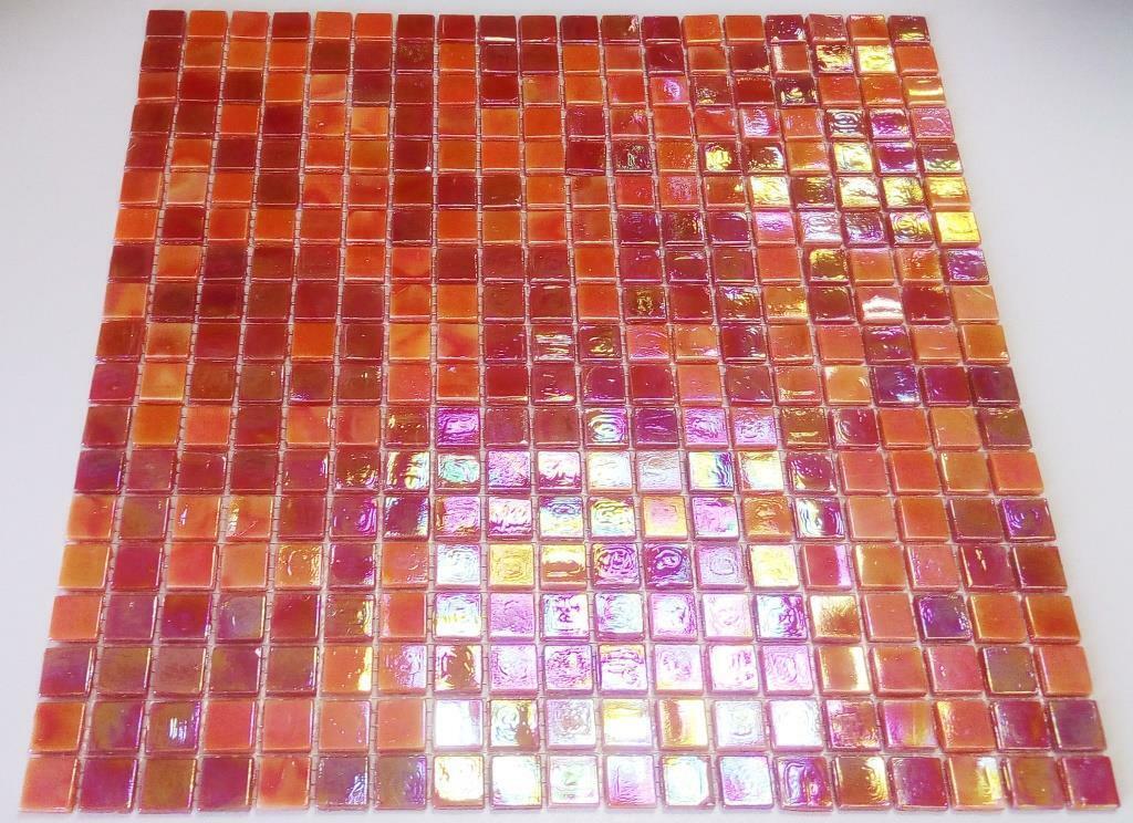 Mosaik mix rot Glas Fliese Quadrat 15x15x4 Art  58-0902_f   1qm