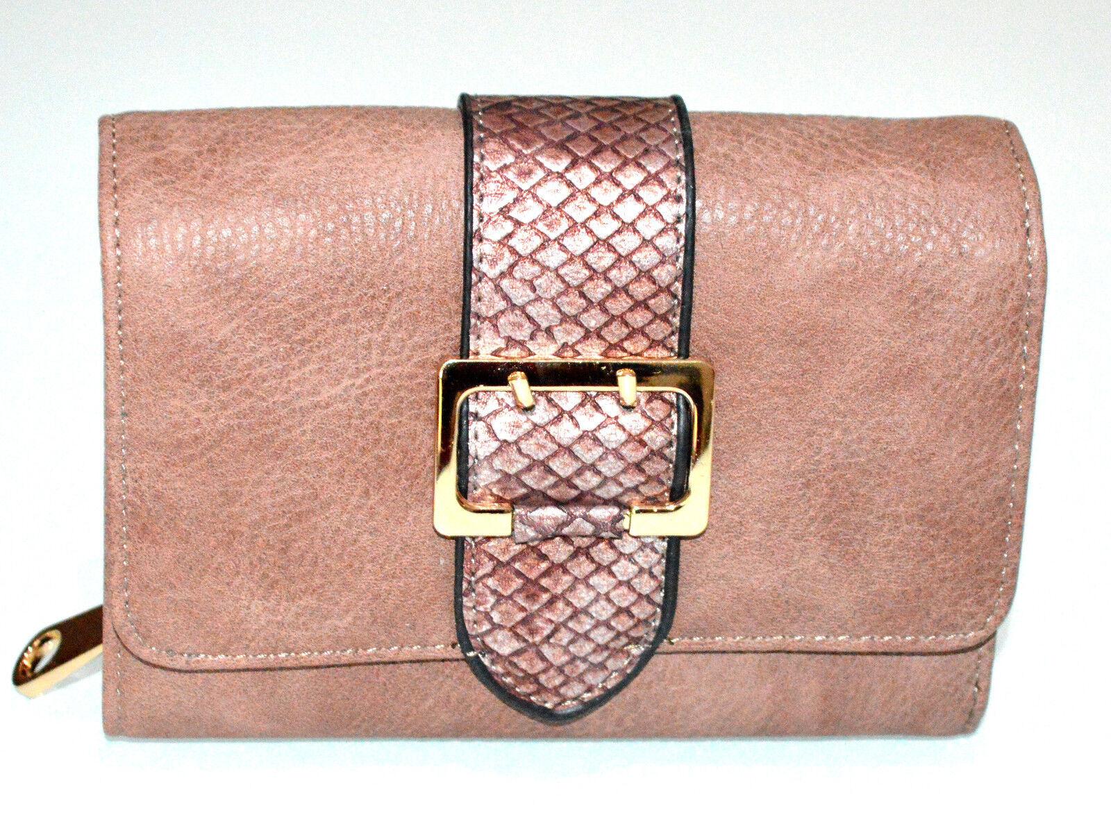 Ladies Pink Wallet Beige Gold Buckle Hand Bag Coin Purse Clutch g1