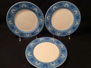 "Lot 3 Mikasa Japan 4046-BL ""Wendy"" Blue & White 7 ¾"" Salad Plate - Excellent"